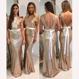 Wholesale red sequin sash belt - V-Backless Gold Sparkle Sequins Bridesmaid Dresses with Belt Cap Sleeves Mermaid Formal Evening Dress Long Bridesmaids Gowns Custom Made Pro