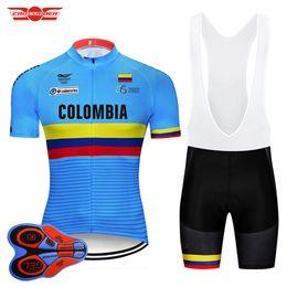 kolumbien gesetzt Rabatt 2018 Pro Team Colombia Radtrikot Lätzchen Set MTB Einheitliche Fahrradbekleidung Fahrradbekleidung Kleidung Ropa Ciclismo Herren Kurze Maillot Culotte