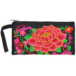 bolsas para senhoras Desconto Exotic etnia chinesa estilo do bordado Armazenamento Organizer Jóias Bolsas Cell Phone Mini carteira, bolsa Lady Purse Wristlet Clutch Zipper Pouch