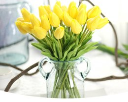 Wholesale Latex Tulips - Latex Tulips Artificial PU Flower bouquet Real touch flowers For Home decoration Wedding Decorative Flowers Option DHL free