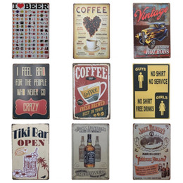 Café sinal aberto on-line-Sinal Da Lata Do Café do vintage Eu Amo Tiki cerveja Bar Aberto Poster Da Lata 20 * 30 cm Pinturas de Ferro de Metal de Alta Qualidade ZB