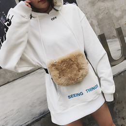 black fur pillows Coupons - Luxury Women Plush Fanny Pack Fur Chest Bag  Small Waist Bag 3dc178b89b