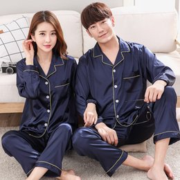 Wholesale Xs Pajama Set - 2018 Spring Summer Lovers Silk Sleepwear Long-Sleeve Male Set Silk Printing Thin Lounge Couple Pajamas Women Pajamas LYQ053