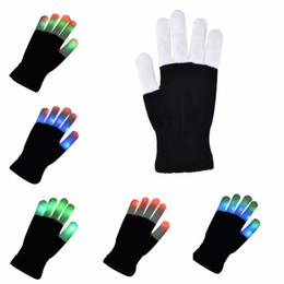 Wholesale Rave Supplies - NEW1 PCS Lighting Mittens Magic Black luminous Gloves LED Glow Gloves Rave Light Up Flashing Finger Kids Children Toys Supplies