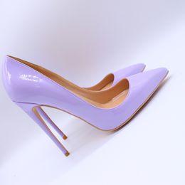 sapatos roxos da festa Desconto Frete grátis moda feminina bombas de couro roxo dedo apontado de salto alto sandálias sapatos botas de noiva bombas de casamento festa sapatos 120 cm