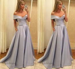 short dinner evening dresses Coupons - Simple Chic Prom Dresses A Line Off the Shoulder Tops Floor Length Satin Elegant Women Evening Party Gowns Dinner Dress Custom Made China