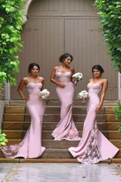 Argentina HOT SALES PINK BRIDESMAID VESTIDOS ELÁSTICOS SATIN SWEETHEART SPAGHETTI STRAPS LERMAID LACE LARGO FORMAL FIESTA DEL FIESTA GOWN MODEST NIGERIANCE LACE Suministro