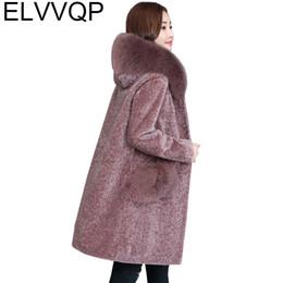 2240dbac18f 2018 New Winter Sheep shearing Faux Fox Fur Coats Plus Size Hooded  Outerwear Women s Thick warm Long Fur Outwears Fur Jackets