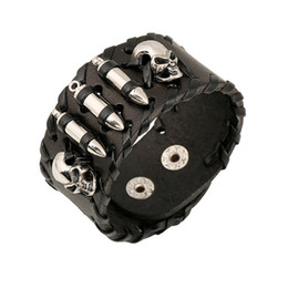 Wholesale mens wide leather cuff bracelets - Mens Leather Bracelet Black Wide Cuff Bracelets & Bangles Rock Skull Head and Bullets Silver Plated Baubles Charm Women Jewelry