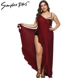 285dd016913 petals hem dress 2019 - Simplee Plus women long dresses Elegant Ruffle Hem  Party Sleeveless Solid