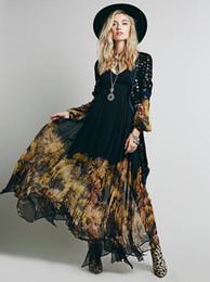 Vestido longo maxi assimétrico on-line-Mulheres vestem plus size chiffon impressão flor manga longa decote v maxi uma linha assimétrica vestido casual