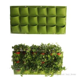 contenitori da giardino Sconti Flower Plant Pots Bag 18 Tasche Fioriera su appeso a parete verticale in feltro pianta da giardinaggio Decor Green Field Grow Container Bags Outdoor