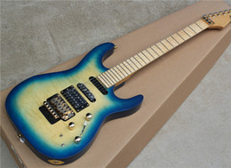 Wholesale floyd rose body - 2018 New Wholesale Blue Body Electric Guitar with Floyd Rose,2 Pickups,Cloud Pattern,Gold Hardwares,Offer Customized