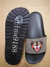 Wholesale T Strap Thick Heel Sandals - 2018 mens fashion angry cat print slide sandals with thick rubber feetbeds boys fashion causal slippers size euro 38-46