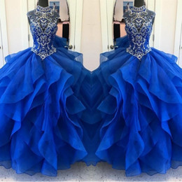 Belles Couches Volants Royal Blue Quinceanera Robes 2018 Cristaux Perlés Robe De Bal Femmes Pageant Robes Doux 15 Robes de 15 Anos ? partir de fabricateur