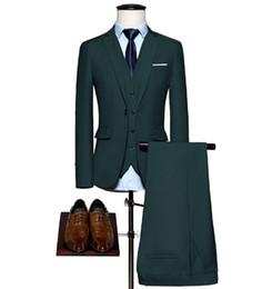 Wholesale Korean Men Winter Wear - 3pieces(Jacket+Pant+Vest)Men Suits Set Korean Slim Fit Suit Men Wedding Dress Blazer Set Tuxedo Formal Wear Men Light Blue 4XL-M