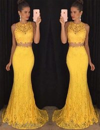 Vestiti da sera gialli due pezzi online-Two Pieces Mermiad Prom Dresses 2018 Yellow Lace Jewel Sweep Train Sexy Cheap Special Evening Party Gowns Arabic Custom Made