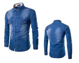 Canada 2016 nouvelle Europe et les États-Unis modèles d'explosion de grande taille jeans hommes chemise poche poche poitrine Slim chemise à manches longues Offre