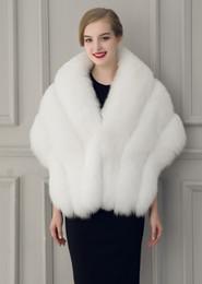 Wholesale Gray Fur Shawl - 2018 New Warm Faux Fur Bridal Shawl Fur Wraps Marriage Shrug Coat Bride Winter Wedding Party Boleros Jacket Cloak Burgundy Black White Gray