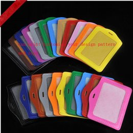 Wholesale Badge Cards - pu leather Id Tags Set Working Permit Bus Card employee's card set Badges Holder can print customize your company design pattern and size.