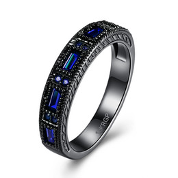 Wholesale Cz Eternity Wedding Band - Wholesale- Blue Wedding Bands Black Plated eternity Finger Rings For Women Round Circle Created purple Zirconia CZ Promise Rings