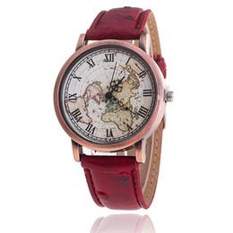 Wholesale vintage map watch - 2016 Newest women leather world map watch vintage men map printing watches ladies casual dress quartz wrist watches for women mens 100pcs