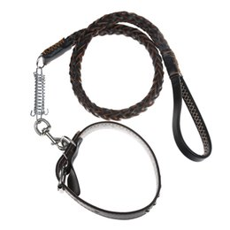Wholesale Collar Necklace Cheap - Cheap leashes and collars for dogs Large Dog Collar Solid Traction Rope Braided PU Leather Belt Collars Pet Necklace Dog Harness