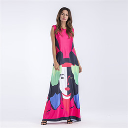 Wholesale Loose Dresses Cheap - New Cheap Gradient Print Head Maxi Long Dresses Color Block Tank Dress Sleeveless Beach Loose Casual Summer Floor Length DRS076