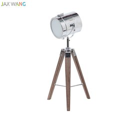 Wholesale Photography Modern - Nordic Retro Industrial Solid Wooden Tripod Table Lamp Photography Desk Lights for Living Room Bedroom Reading Home Lighting
