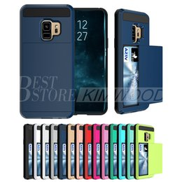 Wholesale Armor Back - Hybrid Armor Card Slide Case Card Slot Wallet PC&TPU Back Cover For Iphone 6 7 8 X Plus Samsung S8 S9 Plus Cases