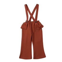 tute da ginnastica della neonata Sconti New baby bretelle pantaloni moda bambini Ruffle Bib pantaloni bambini Tute tuta abbigliamento ragazze C5496