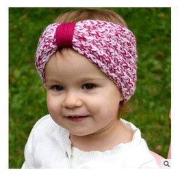 Wholesale Crochet Elastic Hair Bands - Headband Baby Knit Crochet Top Knot Elastic Turban Baby Girls Head wrap Hair Bands Ears Warmer Baby Headbands Accessories DHL Free Shipping