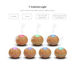 Wholesale wooden aroma diffuser - Wood Grain Humidifier Wooden Air Humidifier Ultrasonic Humidifier Aroma Essential Oil Diffuser Portable Mist Maker 400ML with 7-Color LED