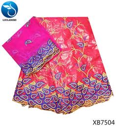 Canada LIULANZHI africain lacets bazin riche tissus rose nouveau bazin nigérian tissus robe avec de la dentelle pour les vêtements 7yards / lot XB75 Offre