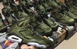Wholesale Original Leather Jackets - Mens Retros VI Green Jacket Basketball Shoes,Retros 6 AH4614-303 Sports Shoes,Grain Leather,Come with Original Box,Size 40-47 Free Shipping