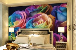 Wholesale Print Colored Paper - High Quality 3D Colored Rose Flowers Mural Photo Wallpaper for Living Room KTV Clubs Wall Decor Custom Size Non-woven Wall Paper