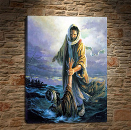 Wholesale Painting Canvas Jesus - Oil Painting HD Print,jesus camina sobre las aguas 18x24inch Wall Art Decor for Living Room Home Modern Decoration Framed Unframed