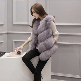 Wholesale White Faux Fox Jacket - Autumn And Winter Fashion Faux Fur Vest Fox Fur Large Size Coat Slim Stitching Wool Vest Women's Jacket Vest Wholesale Special S-3XL