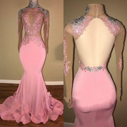 Wholesale open back lace prom dresses - Sexy Pink High Neck Long Sleeves Prom Dresses 2018 Applique Sequins Sexy Open Back Mermaid Evening Gowns Sheer Neck Illusion Party Dress