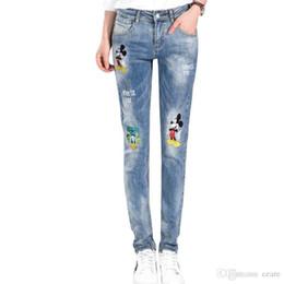 6dbe12d88ccb Wholesale- Women 2016 Pencil Jeans Femme Pockets Skinny Denim Pants Trousers  Boyfriend Street Cartoon Letter Pattern Hole Ripped Jeans B306