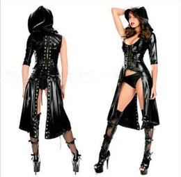 Wholesale Sexy Pvc Adult Costume - Sexy Faux Leather Costume Sex Slave Bondage Restraint Clothes Fetish Harness Roleplay Dress For Women Adult Games Apparel Erotic Flirt Wear