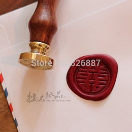 Wholesale wax stamps - only Vintage sealing wooden wax stamp Vintage cowhide tray double happiness word stamp for DIY Scrapbooking Card Making Wedding