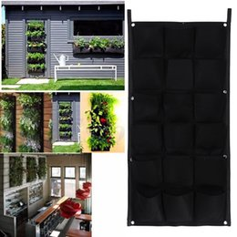 Wholesale Gardening Decor - 18 Pocket Flower Pots Planter On Wall Hanging Vertical Felt Gardening Plant Decor Green Field Grow Container Bags Outdoor