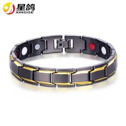 Wholesale Wristband Sports - MEN's bracelet Black Copper MAGNET Sports Bracelets Elegant ADJUSTABLE wristband with Anti-fatigue magnet link chain bracelets Wholesale