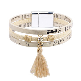 Wholesale Titanium Jewellery Wholesale - Top Multiple layers Vintage Leather Titanium Steel Tassel Pendant For Women Men Bracelet Bangle Fashion Jewellery Drop Shipping