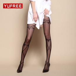 Wholesale Tattoo Pantyhose Black - Sexy Cored Wire Cross With Fake Tattoos Stockings 20D Thin Section Jacquard Pantyhose Bow Suspender Tattoo Tights WA-114