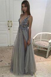 Shinning Sexy Prom Dresses Side Split Paillettes Perline Profondo scollo a V Abiti da cocktail Abiti da sera Tulle Backless Partito Prom Gowns HY189 da