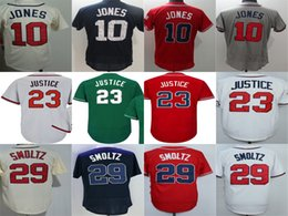 Wholesale Hot Johns - Mens 29 John Smoltz Jersey Atlanta Jerseys 23 David Justice 10 Chipper Jones Green Blue Beige White Red Grey Hot Baseball Jerseys