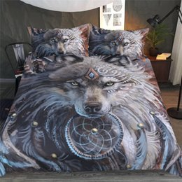 Wholesale full sized quilt - Wolf Warrior Design By Sunima Art Bedding Set Of 3PC Duvet Cover Set Quilt Cover With Pillowcase Twin Full Queen King Size