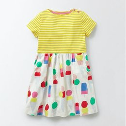 Wholesale Ice Cream Print Dress - Little maven 2018 new summer European and American style Kids comfortable high quality cotton striped and cartoon ice cream printed dress
